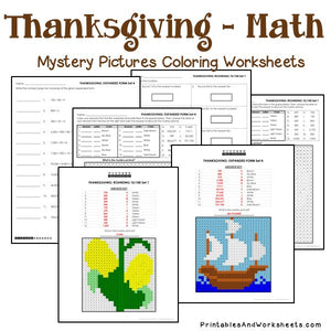 Thanksgiving Coloring Worksheets - Place Value
