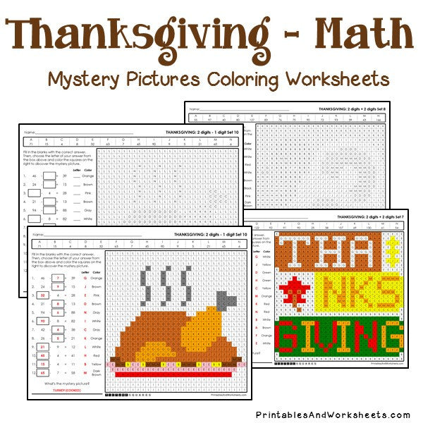 Thanksgiving Coloring Worksheets - Math