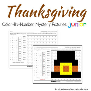 Thanksgiving Color-By-Number: Subtraction