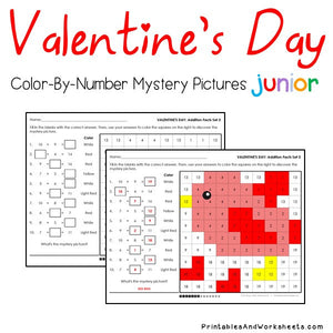 Valentine's Day Color-By-Number: Addition