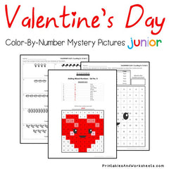 Valentine's Color-By-Number - Day Counting, Greater Than Less Than