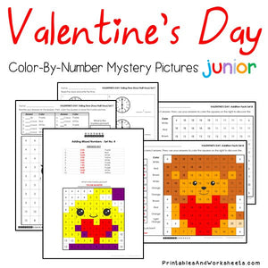 Valentine's Day Color-By-Number: Math