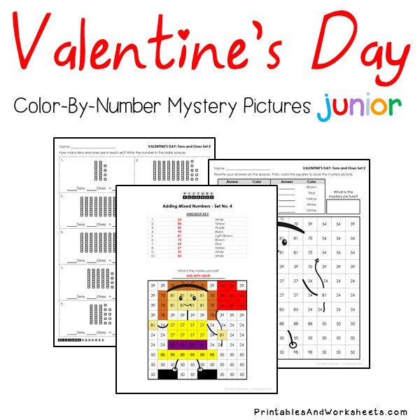 Valentine's Day Color-By-Number: Place Value