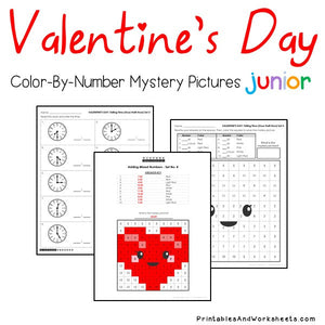 Valentine's Day Color-By-Number: Telling Time