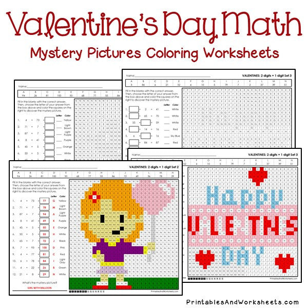 Valentines Day Coloring Worksheets - Addition