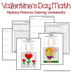 Valentine's Day Decimals Mystery Pictures Coloring Worksheets