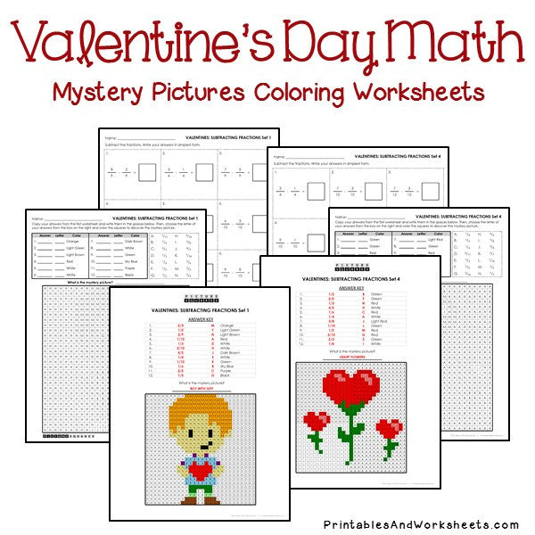 Valentine's Day Coloring Worksheets - Fractions