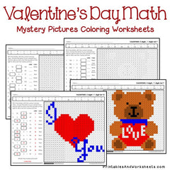 Valentine's Day Math Mystery Pictures Coloring Worksheets Bundle
