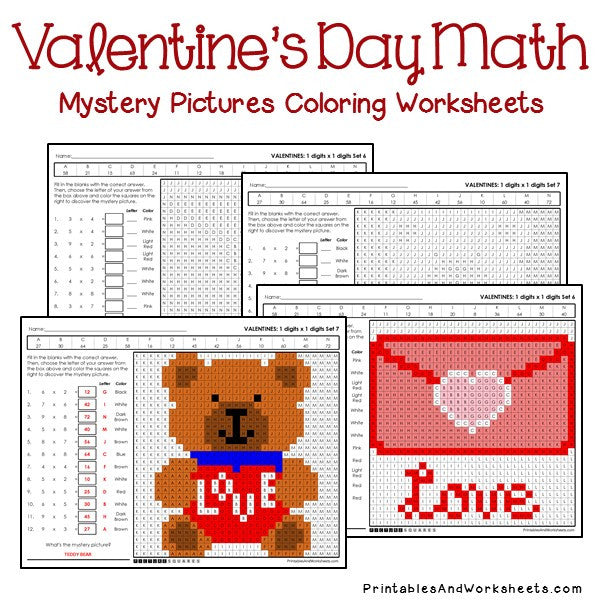 Valentine's Day Coloring Worksheets - Multiplication