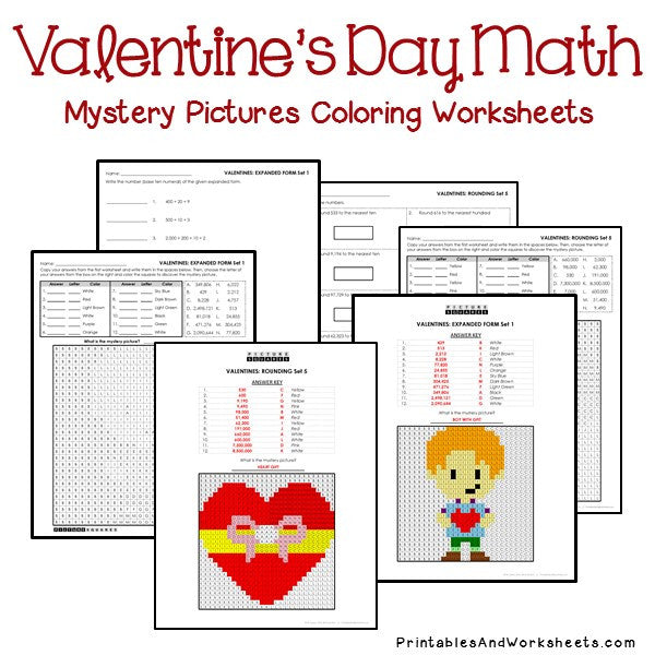 Valentine's Day Coloring Worksheets - Place Value