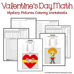 Valentine's Day Place Value Mystery Pictures Coloring Worksheets