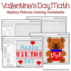 Valentine's Day Subtraction Mystery Pictures Coloring Worksheets