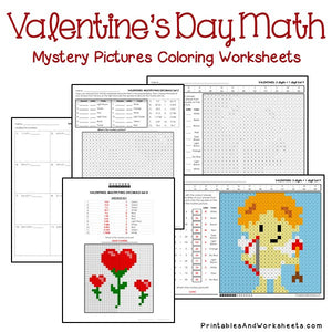 Valentine's Day Coloring Worksheets - Math