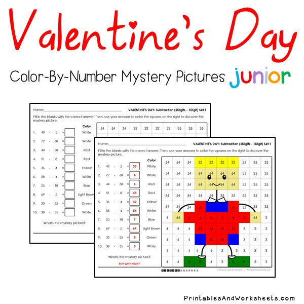 Valentine's Day Color-By-Number: Subtraction