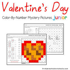 Valentines Day Subtraction Facts ColorByNumber  Printables