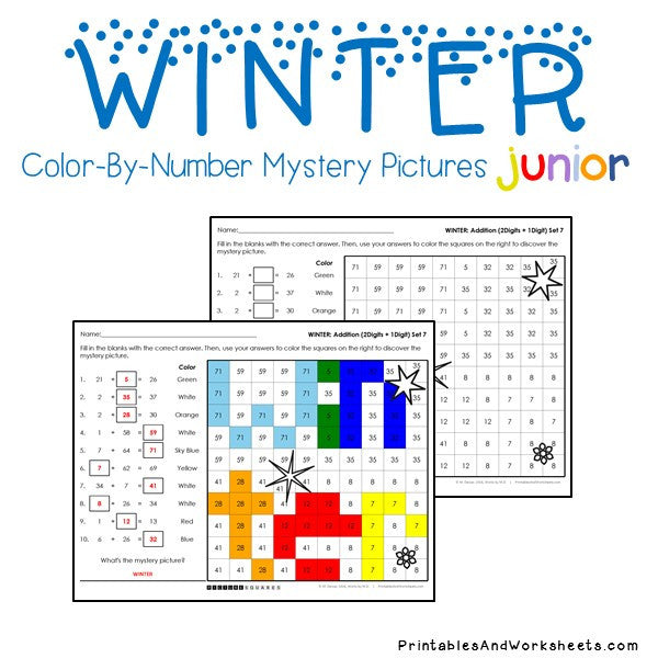 Winter Color-By-Number: Addition