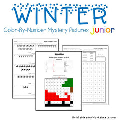 Winter Color-By-Number - Counting, Greater Than Less Than