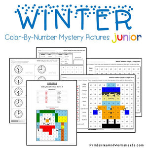 Winter Color-By-Number: Math