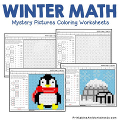 Winter Addition Mystery Pictures Coloring Worksheets