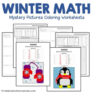 Winter Coloring Worksheets - Decimals