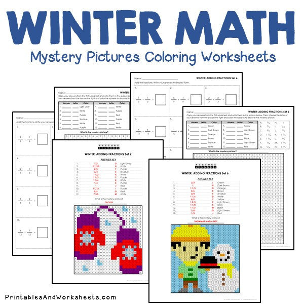 winter fractions mystery pictures coloring worksheets. Black Bedroom Furniture Sets. Home Design Ideas