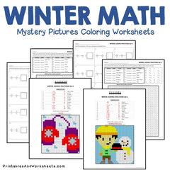 Winter Fractions Mystery Pictures Coloring Worksheets