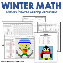 Winter Math Mystery Pictures Coloring Worksheets Bundle