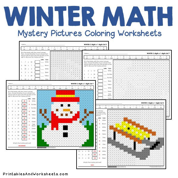 Winter Coloring Worksheets - Multiplication
