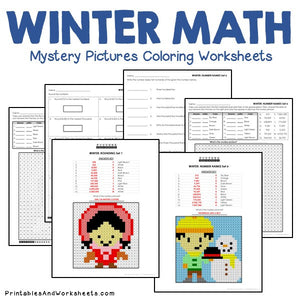 Winter Coloring Worksheets - Place Value