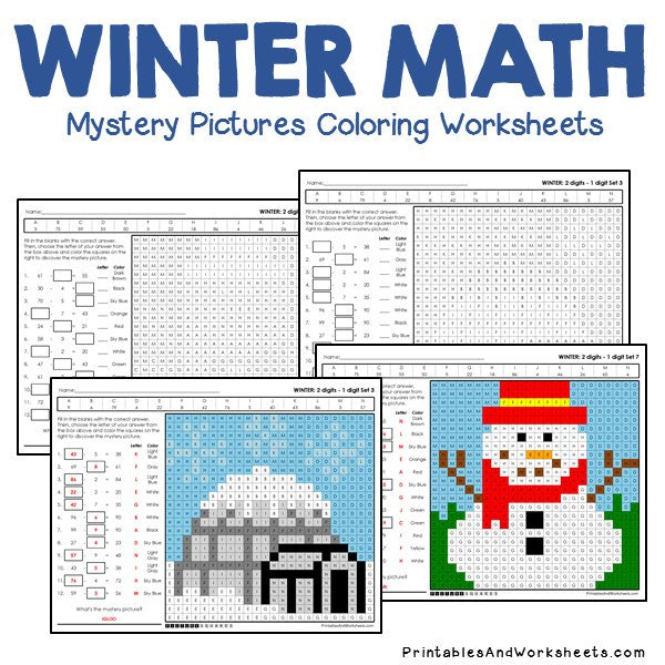 Winter Coloring Worksheets - Subtraction
