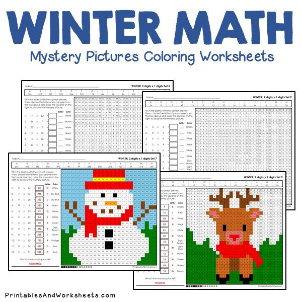 Winter Math Mystery Pictures Coloring Worksheets Bundle - Printables &  Worksheets