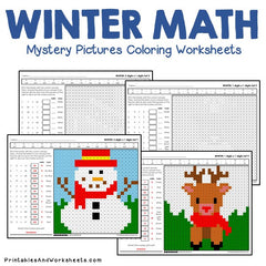 Winter Math Mystery Pictures Coloring Worksheets Bundle ...