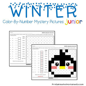 Winter Color-By-Number: Subtraction