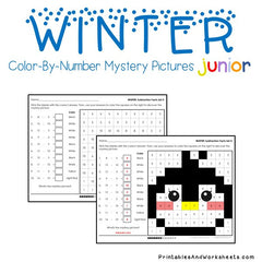 Winter Subtraction Facts Color-By-Number