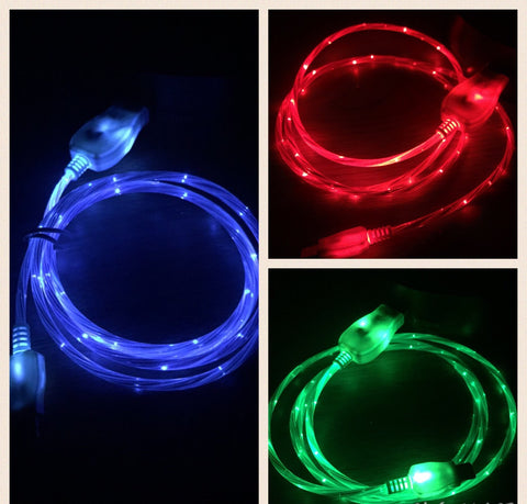 iPhone 5/5S/5C/6/6+ FLOWS WHILE CHARGING LED Light Up Charger - RSS Distributing
