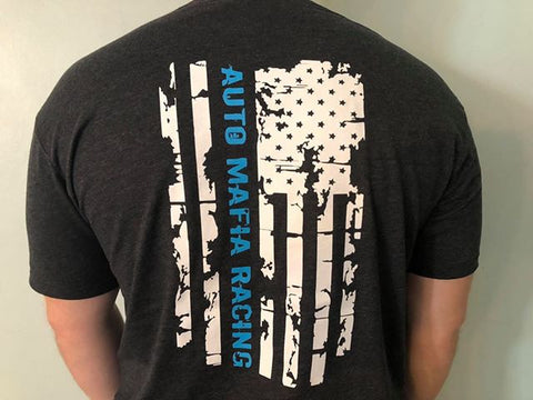 Charcoal / Grabber Blue - Mafia Distressed Flag T-Shirt
