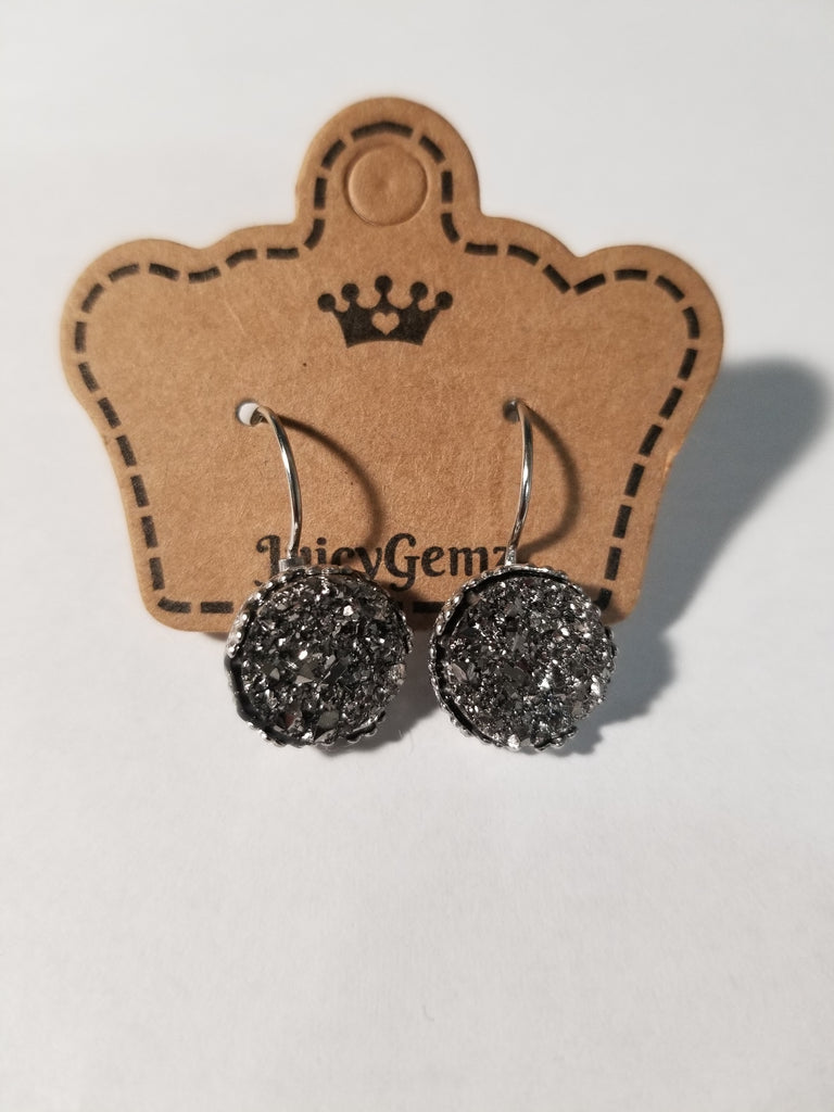 Gunmetal Drusy Studs - Juicy Gemz