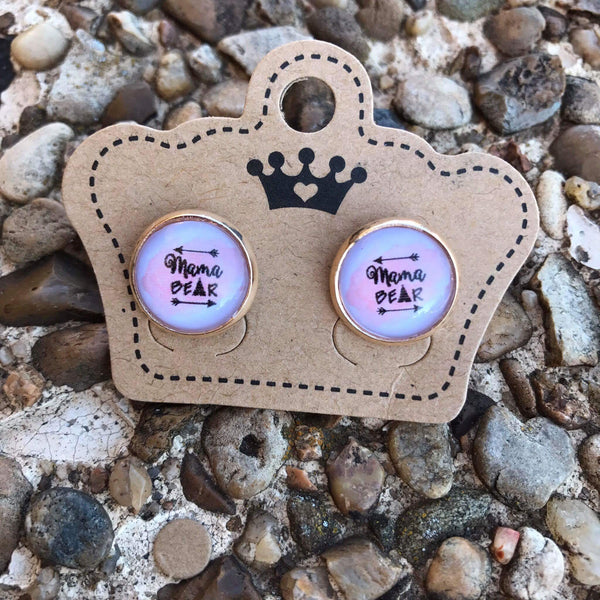 12mm Mama Bear Pink Background Rounds - Juicy Gemz