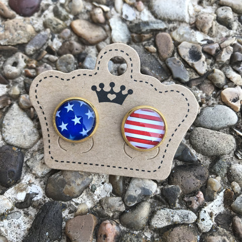 12mm American Flag Studs - Juicy Gemz