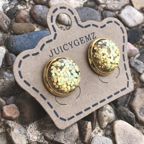 Gold Confetti Studs Gold Rims - Juicy Gemz