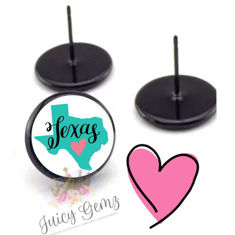 Teal Texas Hearts - Juicy Gemz