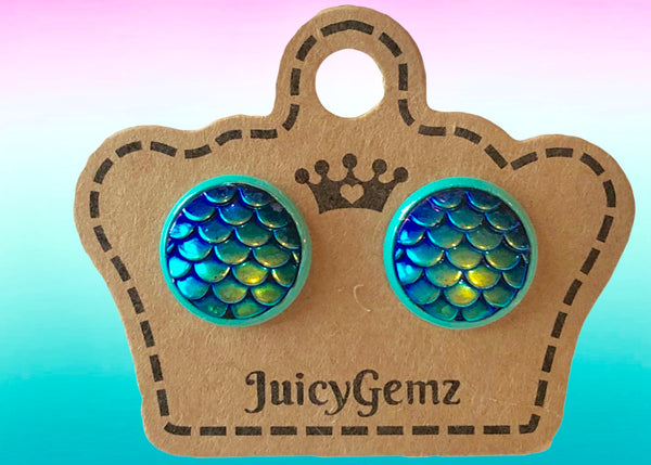 Blue Mermaid Studs - Juicy Gemz