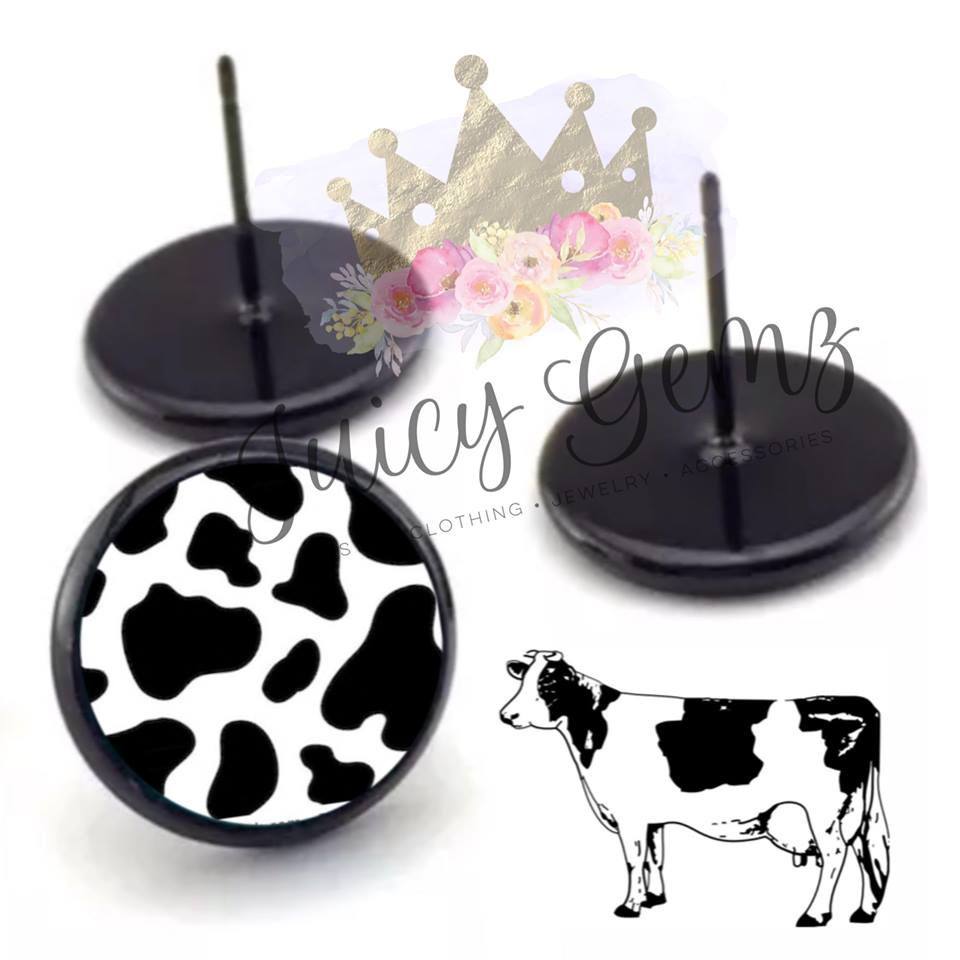 Cow Print Studs - Juicy Gemz