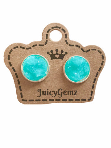12mm Glamour Turquoise Drusy Studs - Juicy Gemz