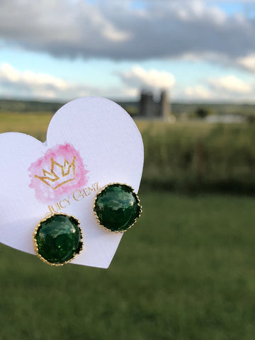 Marble Green Drusy Studs - Juicy Gemz