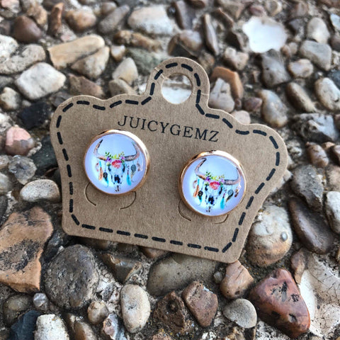 12mm Cow Skull Earrings - Juicy Gemz