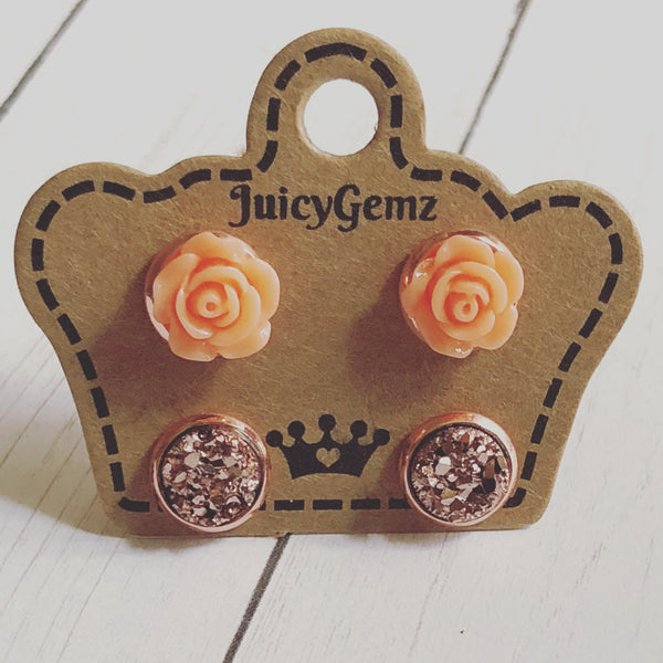 Mini Orange Roses/ Rose Gold Drusys Duo Pack - Juicy Gemz
