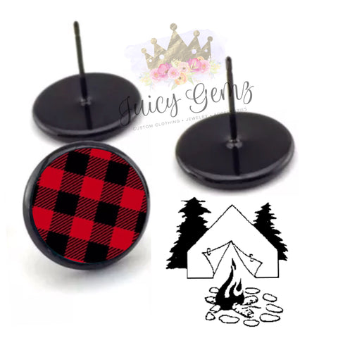 Buffalo Plaid Round Studs - Juicy Gemz