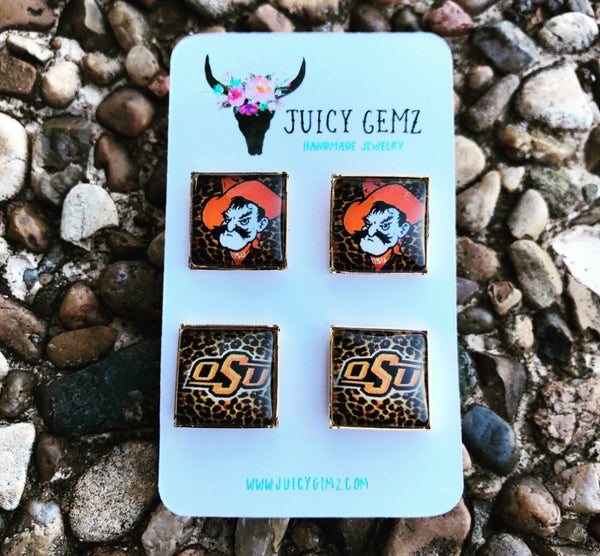 Game Day Pistol Pete/ Standard OSU Leopard Studs - Juicy Gemz