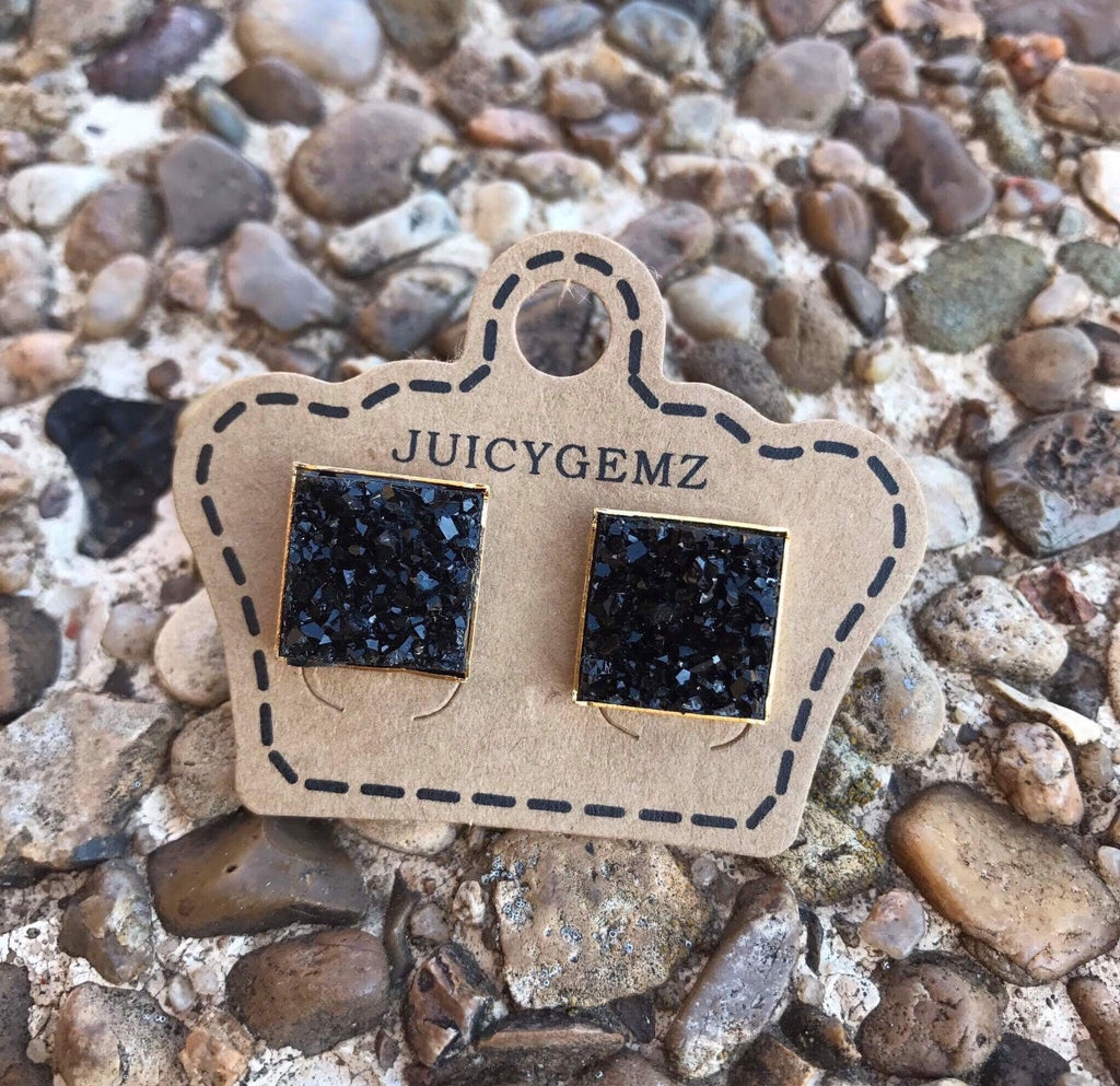 12mm Black Drusy Squares - Juicy Gemz
